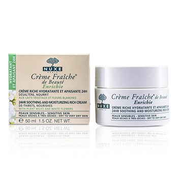 Nuxe Creme Fraiche De Beaute Enrichie 24HR Soothing And Moisturizing Rich Cream (Dry to Very Dry Sensitive Skin)  50ml/1.7oz