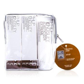 Philip Kingsley Smooth & Shiny Jet Set: Shampoo 75ml + Conditioner 75ml + Elasticizer Extreme 75ml PHI534C  3pcs