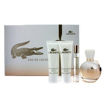 Lacoste Eau De Lacoste Coffret: Edp Spray 90ml/3oz + Edp Roll On 6ml/0.2oz + Body Lotion 50ml/1.6oz + S  4pcs