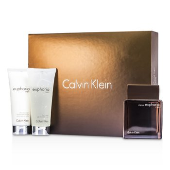Calvin Klein Euphoria Intense Coffret: Eau De Toilette Spray 100ml/3.4oz + After Shave Balm 100ml/3.4oz + Body Wash Gel 100ml/3.4oz  3pcs