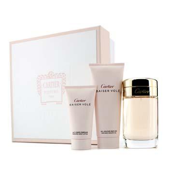 Cartier Baiser Vole Coffret: Eau De Parfum Spray 100ml/3.3oz + Shower Gel 100ml/3.3oz + Body Lotion 50ml/1.6oz  3pcs