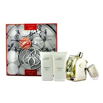 Hermes Voyage D'Hermes Coffret: Eau De Toilette Refillable Spray 100ml/3.3oz + Eau De Toilette Miniature 5ml/0.16oz + Body Lotion 30ml/1oz + All Over Shower Gel 30ml/1oz  4pcs