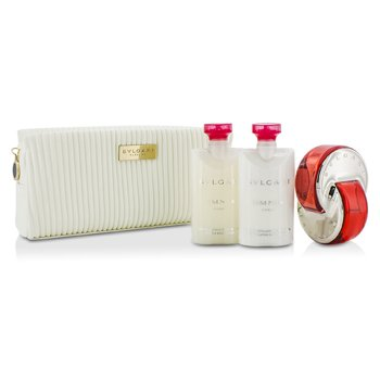 Bvlgari Omnia Coral Coffret: Eau De Toilette Spray 65ml/2.2oz + Body Lotion 75ml/2.5oz + Body Scrub 75ml/2.5oz + Pouch  3pcs+pouch