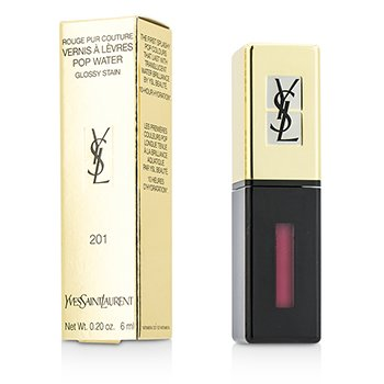 Yves Saint Laurent Rouge Pur Couture Vernis A Levres Pop Water Glossy Stain - #201 Dewy Red  6ml/0.2oz