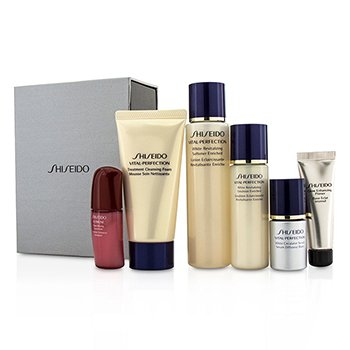 Shiseido Vital-Perfection Set: Cleansing Foam 50ml+Softener 75ml+Emulsion 30ml+Ultimune Concentrate 10ml+Serum 10ml+Primer 10ml  6pcs