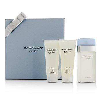 Dolce & Gabbana Light Blue Gift Coffret: Eau De Toilette Spray 100ml/3.3oz + Body Cream 100ml/3.3oz + Bath & Shower Gel 100ml/3.3oz  3pcs