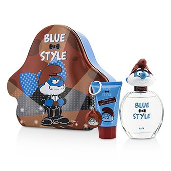 The Smurfs Papa Coffret: Eau De Toilette Spray 100ml/3.4oz + Shower Gel 75ml/2.5oz + Key Chain  3pcs