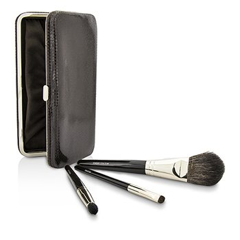 Laura Mercier Travel Brush Kit: 1x Cheek Colour Brush, 1x Smudge Brush, 1x Eye Crease Brush, 1x Case (Unboxed)  3pcs+1case