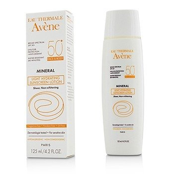Avene Mineral Light Hydrating Sunscreen Lotion SPF 50 For Face & Body - For Sensitive Skin  125ml/4.2oz