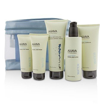Ahava Deadsea Water Mineral Body Kit: Shower Gel + Body Exfoliator + Body Lotion + Hand Cream + Foot Cream + Blue Bag  5pcs+1bag