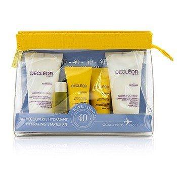 Decleor Hydrating Starter Kit: Cleansing Mousse + Essential Serum 5ml + Light Cream 15ml + Body Milk 50ml + Bag  5pcs+1bag