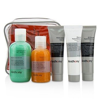 Anthony Fresh 5 Kit: Facial Scrub 60ml + Shave Cream 30ml + Invigorating Rush Hair & Body Wash 100ml + Glycolic Facial Cleanser 30ml + All Purpose Facial Moisturizer 30ml  5pcs