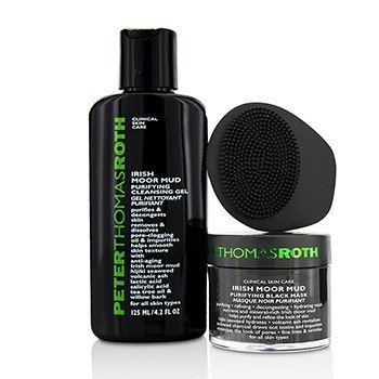 Peter Thomas Roth Moor Please! Irish Moor Mud 3-Piece Kit: Irish Moor Mud Purifying Black Mask  50ml + Irish Moor Mud Purifying Cleansing Gel 125ml + Masktasker Mask Application & Removal Tool  3pcs