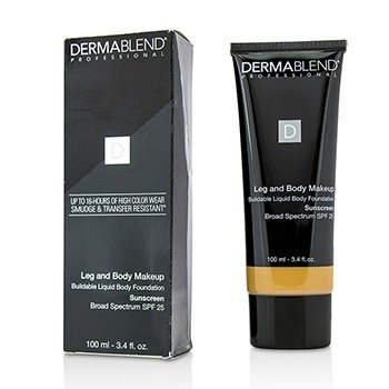 Dermablend Leg and Body Make Up Buildable Liquid Body Foundation Sunscreen Broad Spectrum SPF 25 - #Medium Golden 40W  100ml/3.4oz