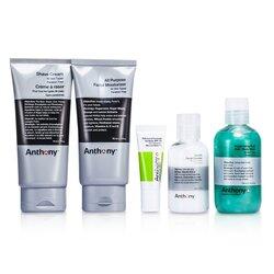 Anthony Logistics For Men The Essential Traveler Kit:  Cleanser + Mositurizer + Lip Blam + Shave Cream + Hair & Body Wash  5pcs