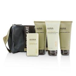 Ahava Men's Care Set: Shaving Cream 100ml + Mineral Shower Gel 100ml + Dermud Intensive Foot Cream 100ml + Purifying Mud Soap 100g  4pcs