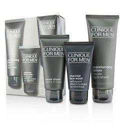 Clinique Custom-Fit Daily Hydration Set: Charcoal Face Wash 50ml/1.7oz + Cream Shave 60ml/2oz + Moisturizing Lotion 100ml/3.4oz  3pcs