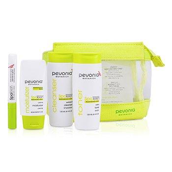 Pevonia Botanica Kit SpaTeen anti- manchas : loção de limpeza + Tônico de limpeza + Hidratante + Nescessaire  3pcs+1bag