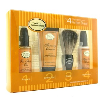 The Art Of Shaving Starter Kit - Lemon: Pre Shave Oil + Shaving Cream + Brush + After Shave Balm  4pcs