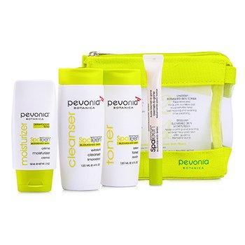 Pevonia Botanica SpaTeen Blemished Skin Kit: Cleanser + Toner + Moisturizer + Blemish-B-Gone + Bag  4pcs+1bag