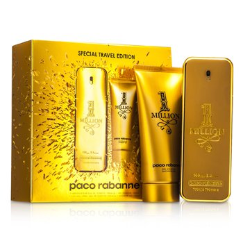 Paco Rabanne One Million Edici�n de Viaje Especial Coffret: Eau De Toilette Spray 100ml/3.4oz + Gel de Ducha 100ml/3.4oz  2pcs