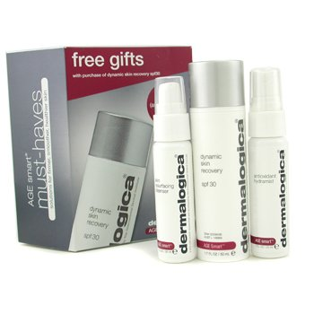 Dermalogica Age Smart Travel Set: Dynamic Skin Recovery + Skin Resurfacing Cleanser + Antioxidant HydraMist  3pcs