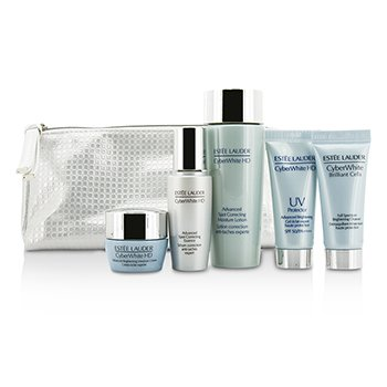Estee Lauder CyberWhite Brilliant Cells Travel Set: Cleanser + UV Protector + Essence + Moisture Lotion + Moisture Creme  5pcs