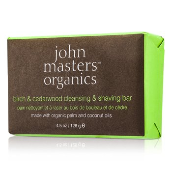 John Masters Organics Birch & Cedarwood Cleansing & Shaving Bar  128g/4.5oz