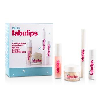 Bliss Fabulips Treatment Kit: Lip Cleanser + Lip Scrub + Lip Plumper + Lip Balm  4pcs
