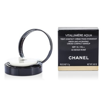 Chanel Nawilżający podkład w kompakcie Vitalumiere Aqua Fresh And Hydrating Cream Compact MakeUp SPF 15 - #42 Beige Rose  12g/0.42oz