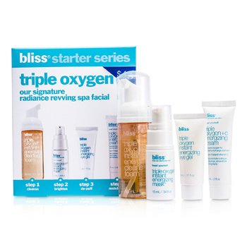 Bliss Triple Oxygen Starter Kit: Cleansing Foam 50ml + Mask 10ml + Eye Gel 5ml + Energizing Cream 15ml  4pcs