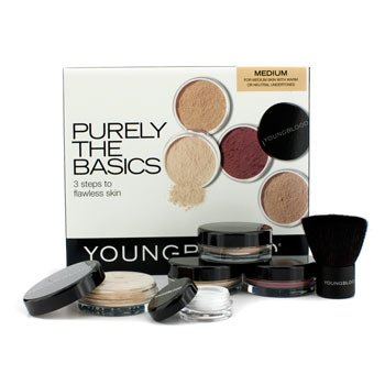 Youngblood Kit Purely The Basics- #Medium (2xBase , 1x Blush mineral, 1xPó setting, 1xPincel , 1xPó Mineral  6pcs