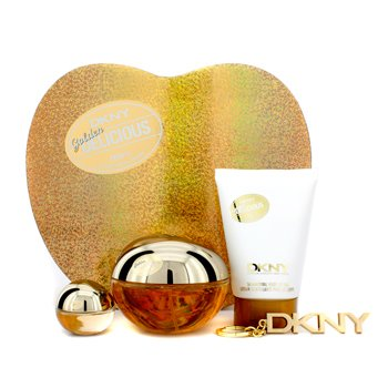 DKNY Golden Delicious Coffret: Eau De Parfum Spray 100ml/3.4oz + Body Lotion 100ml/3.4oz + Miniature + Key Chain  4pcs