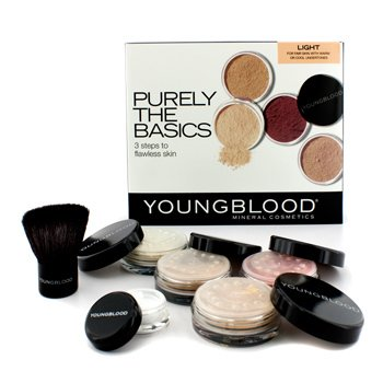 Youngblood Purely The Basics Kit - #Light (2xFoundation, 1xMineral Blush, 1xSetting Powder, 1xBrush, 1xMineral Powder)  6pcs