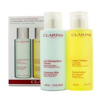 Clarins Cleansing Coffret: Cleansing Milk 400ml + Toning Lotion 400ml (Normal or Dry Skin)  2pcs