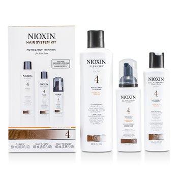 Nioxin System 4 System Kit para Cabello Fino, Tratado Quimicamente, Debilitado Notablemente   3pcs
