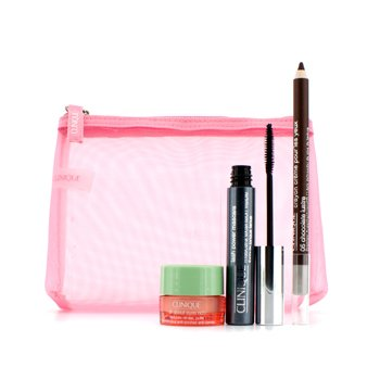 Clinique Power Lashes Mascara Set: 1x Lash Power Mascara, 1x All About Eyes Rich, 1x Cream Shaper For Eyes, 1x Bag  3pcs+1bag