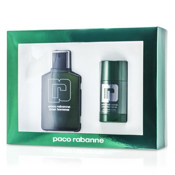 Paco Rabanne Pour Homme Estuche: Eau De Toilette Spray 100ml/3.3oz + Desodorante en Barra 75ml/2.2oz  2pcs