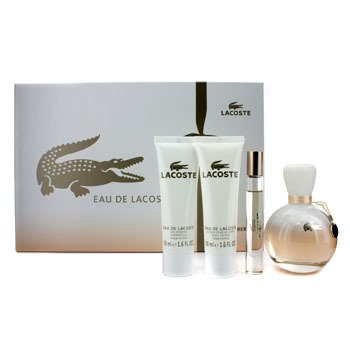 Lacoste Eau De Lacoste Coffret: Edp Spray 90ml/3oz + Edp Roll On 6ml/0.2oz + Body Lotion 50ml/1.6oz + S  4pcs
