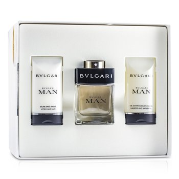 Bvlgari Man Coffret:Eau De Toilette Spray 60ml/2oz + Bálsamo Para Después de Afeitar 75ml/2.5oz + Champú & Gel de Ducha 75ml/2.5oz  3pcs