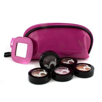 Benefit Silky Powder Eye Shadow Set: # Blushing Bride, # Getaway, # Guess, # Shallow, # Soft Shoulder (With Pink Cosmetic Bag)  5pcs+1bag