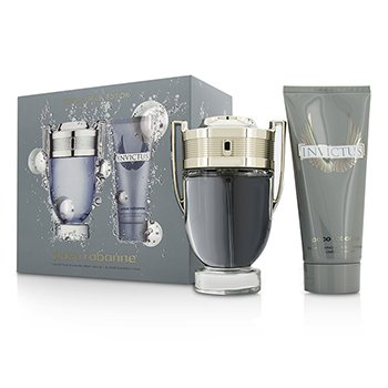 Paco Rabanne Invictus Coffret: Eau De Toilette Spray 100ml/3.4oz + All Over Shampoo 100ml/3.4oz  2pcs