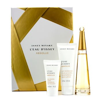 Issey Miyake L'Eau D'Issey Absolue Coffret: Eau De Parfum Spray 50ml/1.6oz + Loci�n Corporal 75ml/2.5oz + Gel de Ducha 30ml/1oz  3pcs
