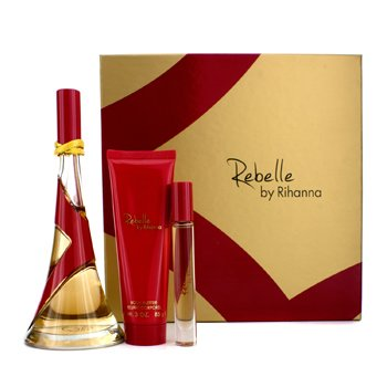 Rihanna Rebelle Coffret: Eau De Parfum Spray 100ml/3.4oz + Manteca Corporal 85g/3oz + Rollerball 6ml/0.2oz  3pcs