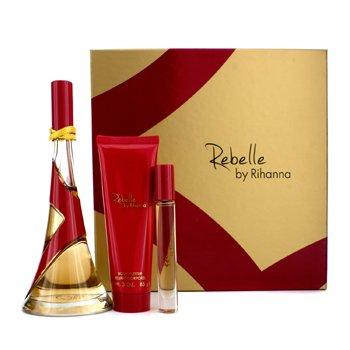 Rihanna Rebelle Coffret: Eau De Parfum Spray 100ml/3.4oz + Creme Corporal 85g/3oz + Rollerball 6ml/0.2oz  3pcs