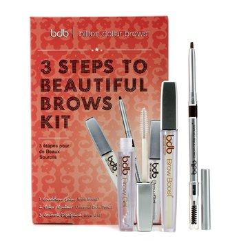 Billion Dollar Brows 3 kroková sada pro úpravu obočí 3 Steps To Beautiful Brows Kit: 1x kondicionér Brow Boost, 1x gel na obočí Brow Gel, 1x univerzální tužka Universal Pencil  3pcs