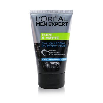 L'Oreal Panská matující pěna s extraktem dřevěného uhlí Men Expert Pure & Matte Icy Effect Charcoal Black Foam  100ml/3.4oz