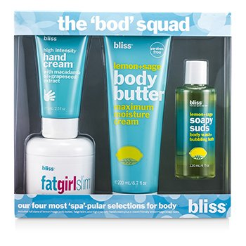 Bliss The Bod Squad Set: Manteca Corporal 200ml + Espuma de Jabón 120ml + Chica Gorda Adelgaza 170.5g + Crema de Manos 75ml  4pcs
