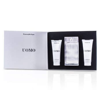 Ermenegildo Zegna Uomo Coffret: Eau De Toilette Spray 100ml/3.4oz + Bálsamo Para Después de Afeitar 100ml/3.4oz + Jabón de Cabello y Cuerpo 100ml/3.4oz  3pcs