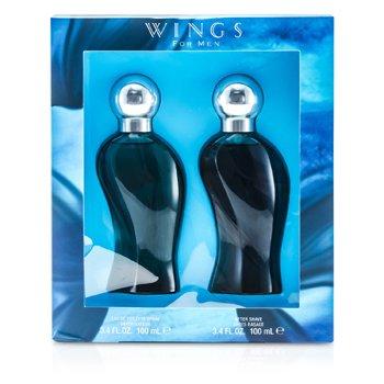 Giorgio Beverly Hills Wings Coffret: Eau De Toilette Spray 100ml/3.4oz + Pós Barba 100ml/3.4oz  2pcs